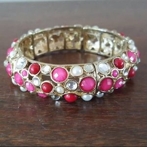 Bracelet / Pink and White Faux Stones / Expandable